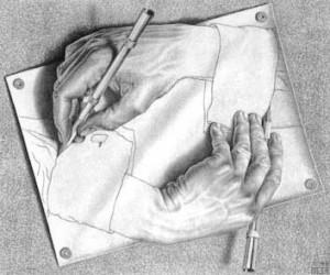 Drawing Hands, 1948. (M.C. Escher)
