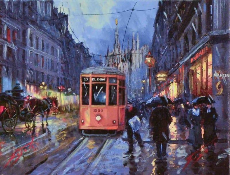 Dipinto di un tram a Milano